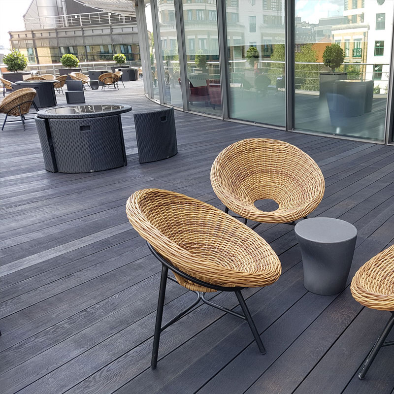 Channel 4 Buildings - Radial Design Enhanced Grain Charred Oak Millboard Decking