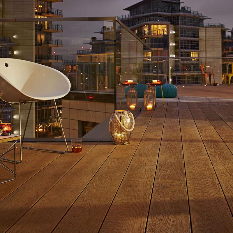 enhanced grain coppered oak millboard decking Roof-Terrace