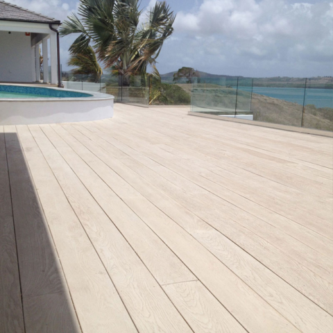Enhanced Grain Limed Oak Millboard Decking Pool-Antigua