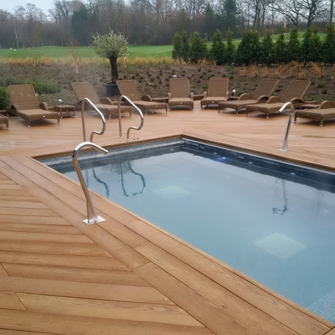 Millboard Enhanced Grain Coppered Oak Spa Swimming Pool