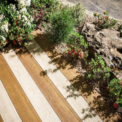 Millboard Enhance grain Limed oak and Golden Oak Decking - total carpentry ireland