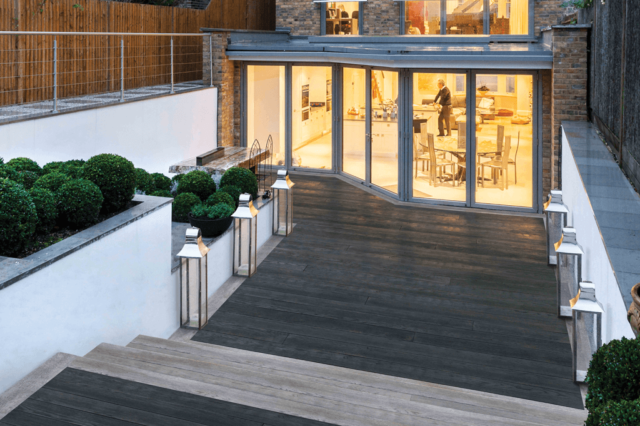 Millboard enhanced grain charred oak and lime oak decking combined - Total Carpentry Ireland premium decking alternative to wood decking, plastic decking and composite decking